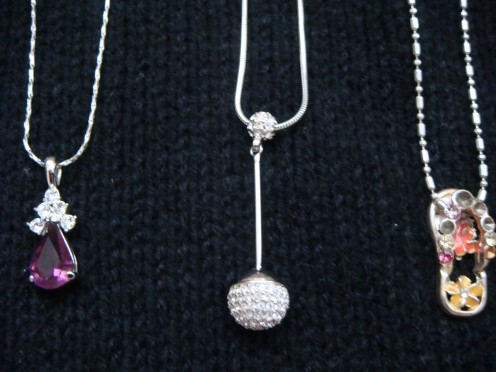 Three of my favorite silver necklaces which I often use during parties, gifts from my mom.