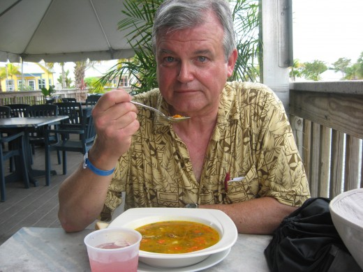 Enjoying a Bowl of Green Sea Turtle Soup on Grand Cayman Island.