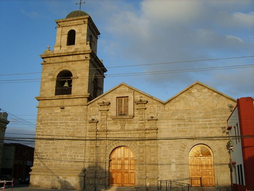 A view of a Colonial style church, La Serena, Chile
