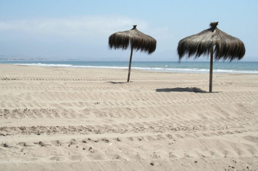 Partial view of the beach at La Serena Chile