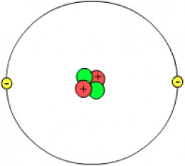 Image by Svdmolen/Jeanot The diagram shows 2 protons (in red) and 2 neutrons (in green) so this atom has four nucleons. There are two electrons round the outside.