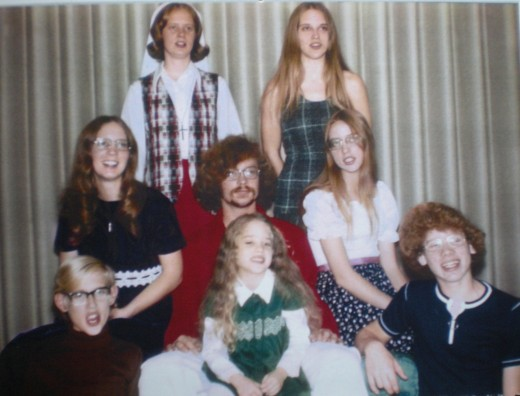 The last Christmas card photo taken of all eight siblings