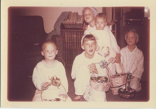 All five siblings on Easter morning when I was a toddler
