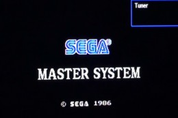 The Sega Master System logo appears on the screen after pressing the Power button.