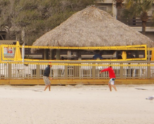 Impromptu volley ball games are common in front of the Tiki Hut.