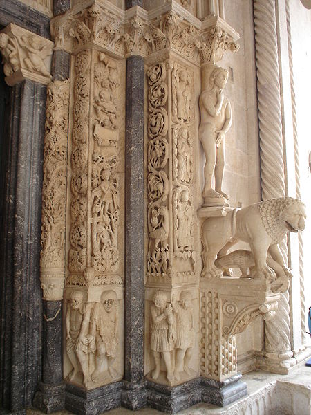 "At the entrance of St. Lawrence in Trogir, there is an intricately carved depiction called ""Radovan's Portal"".  On it shows the months of the year.  To the right is March and April."