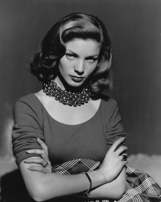 Lauren Bacall seductively eyes her future as a movie star.