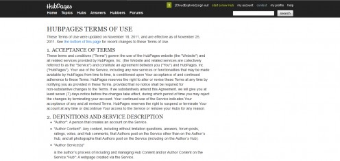Hubpages Terms of Service