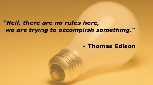 Thomas Edison reminds us of the rules for creativity. Lightbulb image by ppdigital, Edison quote added by Doc Sonic.