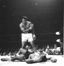 Muhammad Ali showing off is tenacious fighting form as he decked one of his opponents during his prime days...