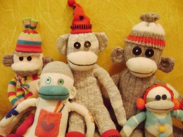 The first primate family made from used socks.