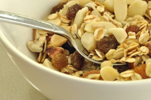 Muesli is a wonderful high fiber option for breakfast.