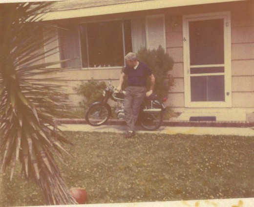 My father and the original 1968 Yamaha 50cc that was mine.