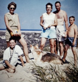 My family including dog, Sheba, on South Padre Island in the 1960s