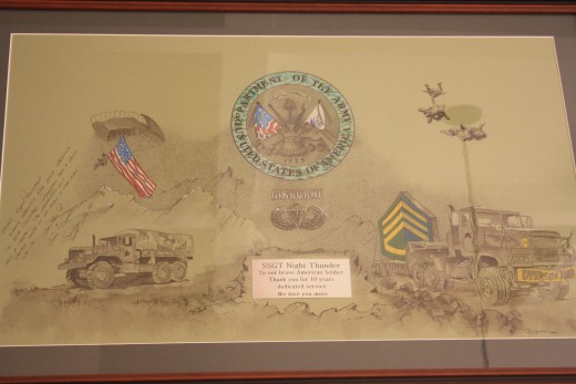 A picture I had hand drawn and Italian Framed for my husbands 10 Year Anniversary in the Army