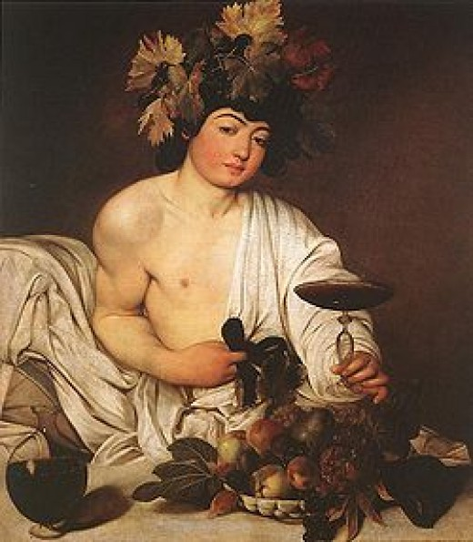 """""""Bacchus""""  wearing a crown of grape leaves ... by Caravaggio"""