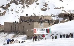 The finish line and ski resort