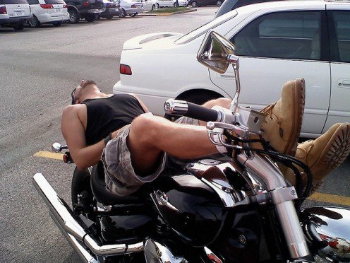 """""""SNOOZING SAM,"""" COULD EASILY BE """"BIKE JACKED"""" BY SOMEONE WHO PUSHES HIM OFF HIS BIKE AND STEALS IT FROM UNDER HIS BUTT."""