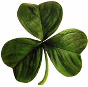 Legend (dating to 1726, according to the OED) also credits St. Patrick with teaching the Irish about the doctrine of the Holy Trinity by showing people the shamrock, a three-leafed plant, using it to illustrate the Christian teaching of 'three divine