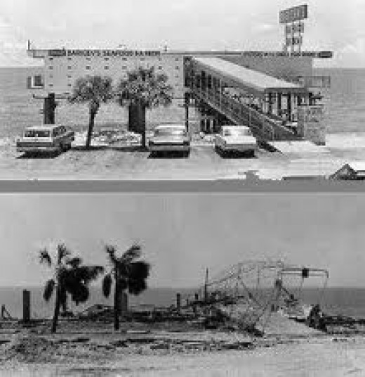 A beachfront seafood restaurant, before and after Camille.