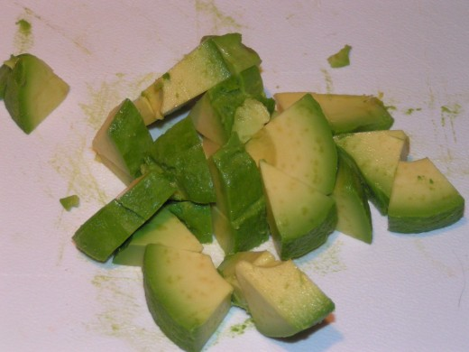 Cube the avocado pieces.