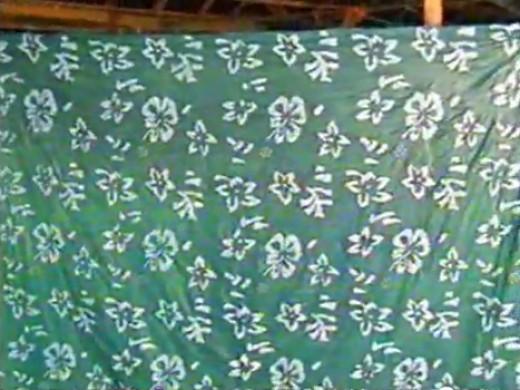 The greenish-yellow freshly dyed cloth.