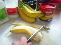 Chop bananas into custard
