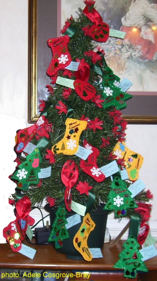 A great way to display your easy-to-sew decorations is on a table-top Xmas tree!
