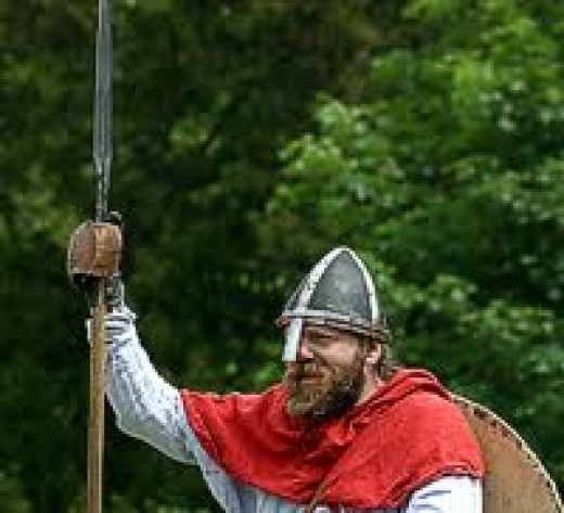 Kitted-out with spear and shield, this man could be a thegn, ready for his fyrd duty, to fulfil the fyrdfaereld or call to arms