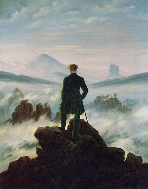 "An oil painting by artist Caspar David Freidrich done in 1818. It is called ""Wanderer Above the Sea of Fog."""