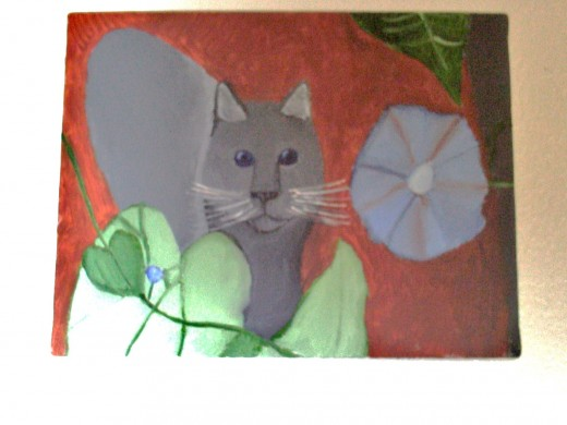 My painting of a cat based on my garden photography of Sweety cat and morning glories.