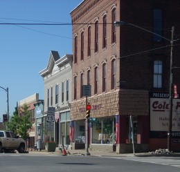Main Street at the intersection of U.S. Route 6 and U.S. Route 15 Business in Mansfield, Tioga County, Pennsylvania.