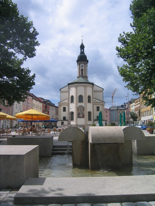 A typical town square in Traunstein, Germany