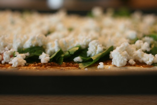 Cheese Pizza Topped with Sun-Dried Tomato Pesto & Spinach