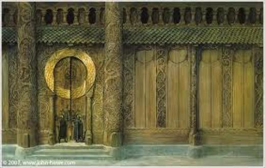 Decorated doors of King Hrothgar's great hall  Heorot ('Beowulf' saga)
