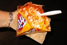 Frito Pie served in a Frito Corn Chip Bag.