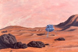 """My painting, """"Taurus Lander,"""" 24x30, acrylic on canvas. I mixed gesso with color for the effect in the sky. Copyright Carl Martin."""