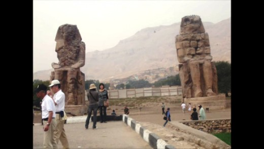The Colussi of Memnon,who sing when a good wind blows. These stand on the West Bank of Luxor.