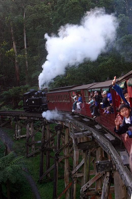 Train passing on Monbulk creek Trestle Bridge near Belgrave
