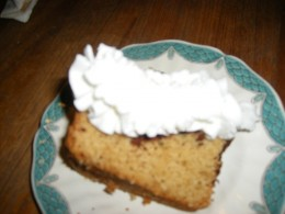 Top off this cake with some whipped cream.