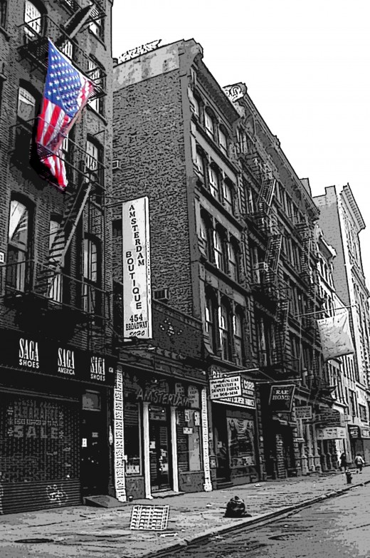 the flag remains in color on Broadway © Eric Heifetz