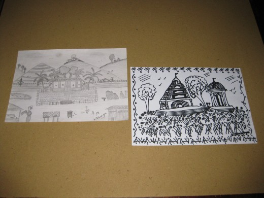 My pencil drawing and marker pen drawing