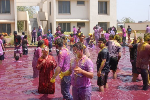 Management institute students enjoying Holi in Delhi.