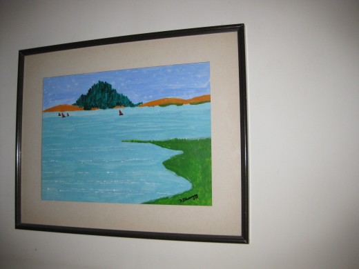 My painting was framed in a professional art framing center.