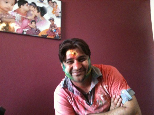 Myself after playing Holi with my friends and family.