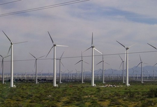 A wind farm functions as a single power plant and sends electricity to the grid.