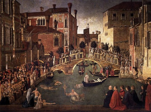 Gentile Bellini's Miracle of the Cross at the Bridge of San Lorenzo, 1500