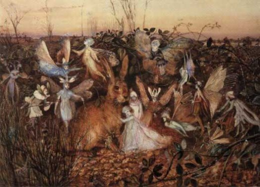 Rabbits with fairy folk