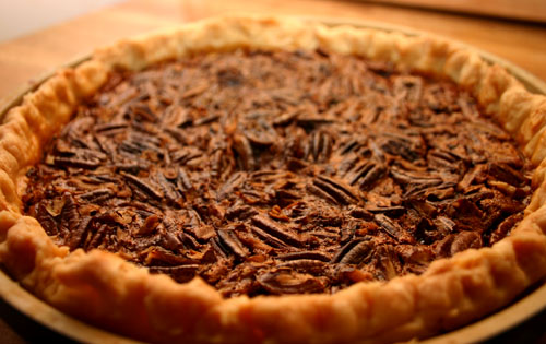Southern pecan pie using this perfect pie crust recipe