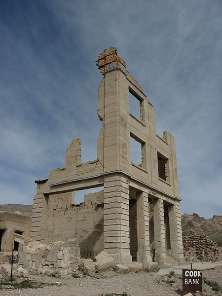 "The ""Cook Bank"" in Rhyolite, Nevada. Once a booming town, the town is now desolate and eerily quiet."
